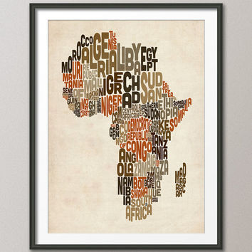 Typography Map of Africa Map, Text Art Print 18x24 inch (106)