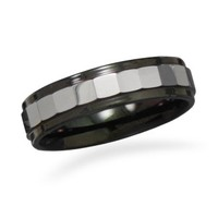 Faceted Tungsten Ring with Black Edge