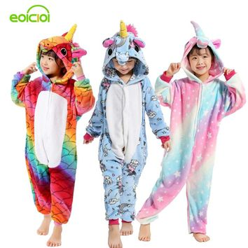 Boys Girls New Flannel Animal Pegasus Unicorn Cosplay Pijamas Onesuits Winter Kids Pajamas Stitch Hooded Children Sleepwear