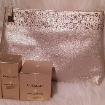 New Guerlain Abeille Royale Skincare Travel Set with Case- All Skin Types