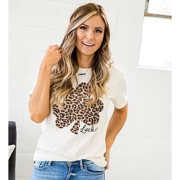 NEW! Leopard Lucky Shamrock Tee