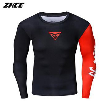 ZRCE Compression Training Fitness Gym Crossfit Bodybuilding Clothing Men 3D Ruinning T Shirt Basketball Breathable Quick Dry