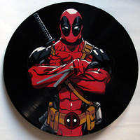 Deadpool vinyl record clock