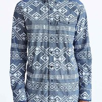 Staple Exeter Printed Woven Button-Down Shirt- Navy