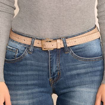 Hello World Thin Taupe Belt