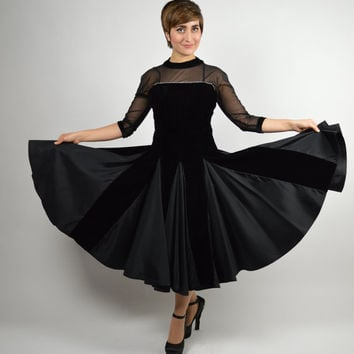 50s Vintage Black Pleated Velvet Cocktail, Party, Holiday, Fancy Dress ,Swing Dress Wonderful to Swing in the New Year