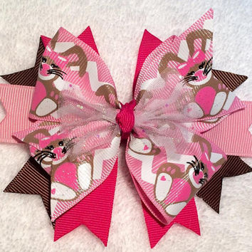 "Easter Hair Bow - Boutique Stacked Pinwheel Bunny Hair Bow - 4.5"" Stacked Rabbit Bow w Glitter Tulle - Pink and Brown - Girls Easter Basket"