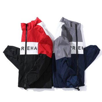 YouthCodes 3M Reflective Coats Men Coaches Thick Double Kanye West Rocky Style Windbreaker Men Waterproof Letters Zipper Jacket