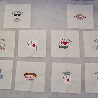 Set of 10 Gambling Themed Embroidered Quilt Blocks