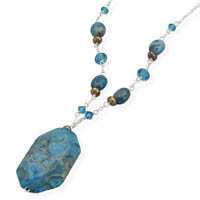 16in x 1in Extension Dyed Blue Lace Agate Necklace
