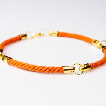 Four quarter nautical rope bracelet - Orange
