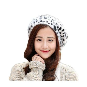 ONETOW WeeH Beret Hat for Women Gril Winter Hats Cute Cat Wool Beanie Cap Gray Dot Cow