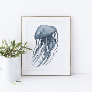 Indigo Blue Watercolor Jellyfish Art Print or Canvas