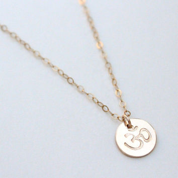 Tiny Om Necklace / Yoga Necklace / Ohm Necklace / Om Charm / Gold Om Necklace / Om Jewelry / Zen Necklace / Gold or Silver