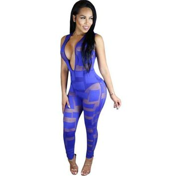 ONETOW Mesh Sexy See Through Rompers Womens Jumpsuit 2017 New Spring Sleeveless Deep V Neck Patchwork Bodycon Black Club Wear Overalls