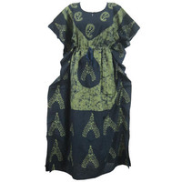 Mogulinterior Kaftan Dress Green Batik Printed Kimono Sleeves Long Maxi Patio Caftan