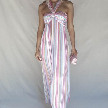 Good Cards Rainbow Stripe Halter Maxi Dress