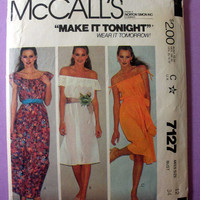 "Off the Shoulder Dress, Boho Hippie Style McCall's 7127 Misses' Size 12 Bust 34"" Vintage 1980's Sewing Pattern Very Hard to Find"