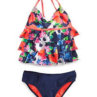 Breaking Waves Girls' 2-Piece Tankini Swimsuit