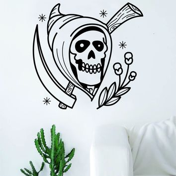 Traditional Grim Reaper Tattoo Decal Sticker Wall Vinyl Art Home Decor Skull Flowers