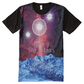 Merry Christmas Stars Galaxy Space Fantasy All-Over Print T-shirt