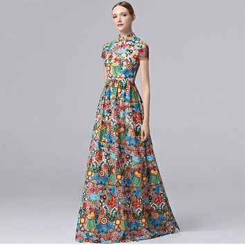 Coniefox 2016 Brand Short Sleeve High Neck Embroidery Multi-colour Prom Long Dresses 31321