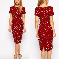 Polka Dot Slim Office Dress