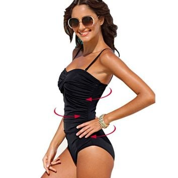 sexy solid black dot large brand plus size 4xl one piece wire free ruched shape body women swimwear new swimsuit bathing suit