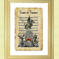 Game Of Thrones SONG SHEET- Wall art print – Poster –