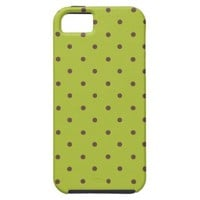 Acid Green And Brown Polka Dots Pattern iPhone 5 Cases from Zazzle.com