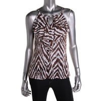 INC Womens Petites Burnout Animal Print Halter Top