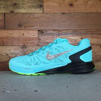 Women's Nike Lunarglide 6 Running Shoes Hand Customized With Swarovski Elements Crystal Rhinestones - Teal/Black/Green