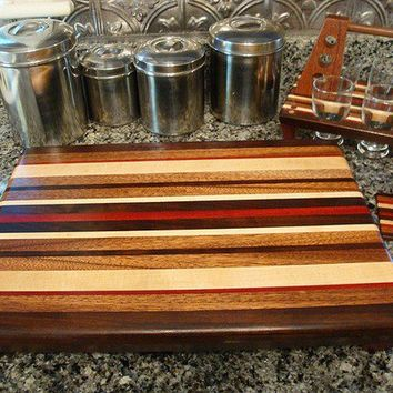 Handmade Large Wood Cutting Board, 6 Pack Mini Beer Sampler and Matching Coasters - The Honeymooners Special