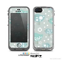 The Subtle Blue Multiple Birds Skin for the Apple iPhone 5c LifeProof Case