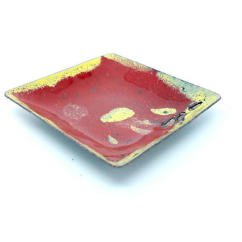 Rustic Enamel Red and Yellow Bowl Trinket Dish Copper Dish Enamel Dish