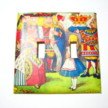 Double Light Switch Cover - Light Switch Plate Alice In Wonderland Queen of Hearts