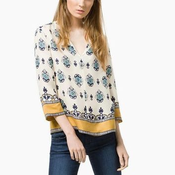 Fashion Retro Multicolor Flower Print V-Neck Loose Middle Sleeve Women Shirt Tops