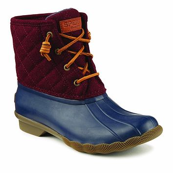 Women's Quilted Saltwater Duck Boot in Maroon/Navy by Sperry - FINAL SALE