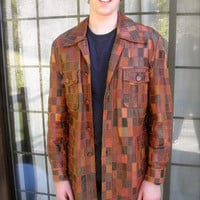 WISE GUY Pimpin 70s Patchwork Leather Jacket // Mens Size 42 // Amazing Authentic 1970s Vintage