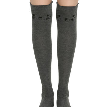 Blackheart Grey Kitty Over-The-Knee Socks
