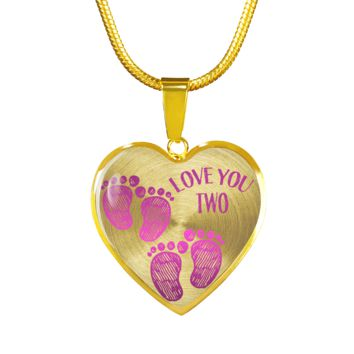 Mother Twin Girls Baby Footprints Necklace Bracelet