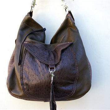 SAMPLE///XL Muriel Traveler in Ostrich, Water Buffalo, Oil Tanned Brown and Olive Green Leathers