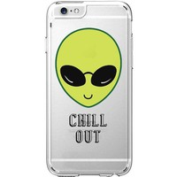 Hard Plastic Transparent Case for iPhone 6 / 6S - Chill Out Alien (Yellow) - Too Cool For This Planet