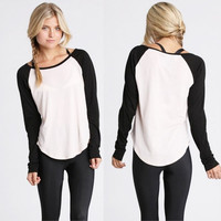 Fashion Women T-Shirt  Full Sleeve White&Black patchwork Baseball Blouse Top = 1956868484
