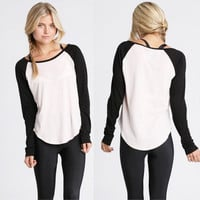 Fashion Women T-Shirt  Full Sleeve White&Black patchwork Baseball Blouse Top