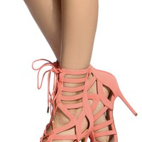 Peach Faux Nubuck Cut Out Lace Up Heels @ Cicihot Heel Shoes online store sales:Stiletto Heel Shoes,High Heel Pumps,Womens High Heel Shoes,Prom Shoes,Summer Shoes,Spring Shoes,Spool Heel,Womens Dress Shoes