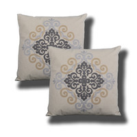 Lizal Embroidered Decorative Pillows, Light Blue / Grey / Tan, Single or Sets