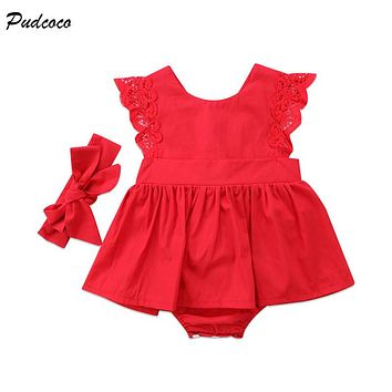 Red Newborn Baby Girl Christmas Clothes Sleeveless Lace Tutu Skirted Romper Jumpsuit+Headband 2PCS Xmas Gift Sunsuit Clothes