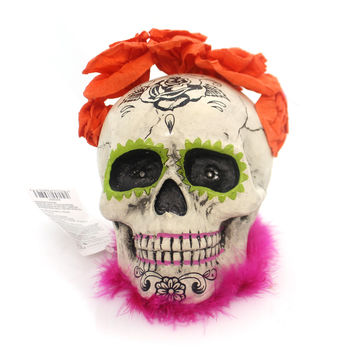 Halloween Day Of The Dead Lit Skull Halloween Figurine