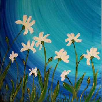 Original Floral Painting, White Irises, Summer, Wildflowers